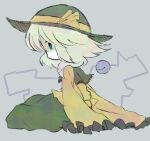 1girl bangs blue_eyes child closed_mouth commentary_request expressionless flat_chest frilled_shirt frilled_sleeves frills from_side full_body green_hair green_headwear green_skirt grey_background hat hat_ribbon komeiji_koishi long_sleeves lotosu medium_hair profile ribbon shaded_face shirt sidelocks sideways_mouth simple_background sitting skirt sleeves_past_fingers sleeves_past_wrists solo third_eye touhou wide_sleeves yellow_ribbon yellow_shirt