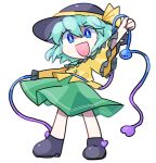 1girl arm_up bangs black_footwear black_headwear blue_eyes boots child chromatic_aberration clenched_hand commentary_request eyebrows_visible_through_hair flat_chest frilled_shirt frilled_sleeves frills green_hair green_skirt happy hat hat_ribbon heart komeiji_koishi long_sleeves looking_at_viewer lotosu open_mouth outstretched_arm ribbon shirt short_hair sidelocks simple_background skirt smile solo stitches third_eye touhou v-shaped_eyebrows white_background wide_sleeves yellow_ribbon yellow_shirt