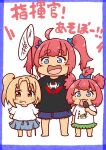 3girls :3 :d :p ahoge alternate_costume arms_behind_back azur_lane bangs black_shirt blonde_hair blue_bow blue_eyes blue_skirt blush_stickers border bow butterfly_net chibi clevelad_(azur_lane) clothes_writing commentary_request daigorou_(42036928) denim denim_shorts eyebrows_visible_through_hair fang food full_body green_skirt grin hair_between_eyes hair_bow hair_ornament hand_net highres holding holding_butterfly_net holding_food li'l_sandy_(azur_lane) licking long_hair looking_at_viewer multiple_girls one_side_up open_mouth popsicle purple_border red_eyes redhead san_diego_(azur_lane) shirt shorts sidelocks simple_background skin_fang skirt smile standing t-shirt teeth thick_eyebrows tongue tongue_out translation_request twintails white_background white_shirt