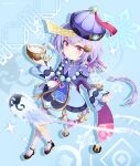 1girl absurdres aqua_background bandaged_leg bandages bangs bead_necklace beads braid cape coconut coin_hair_ornament commentary_request drinking_straw earrings eyebrows_visible_through_hair from_above genshin_impact hair_between_eyes hat hehehzb highres jewelry jiangshi long_hair long_sleeves looking_at_viewer looking_up low_ponytail necklace ofuda orb parted_lips purple_hair qing_guanmao qiqi_(genshin_impact) shoes sidelocks simple_background single_braid solo thigh-highs violet_eyes vision_(genshin_impact) white_legwear yin_yang yin_yang_orb zettai_ryouiki