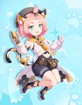 1girl :d absurdres animal_ears animal_print aqua_background bangs_pinned_back black_footwear black_shorts boots bottle cat_ears cat_girl cat_print cat_tail choker commentary_request detached_sleeves diona_(genshin_impact) genshin_impact gloves green_eyes hair_ribbon hat hehehzb highres holding long_sleeves looking_at_viewer open_mouth paw_print paw_print_palms pink_hair ribbon short_hair shorts sidelocks simple_background smile solo tail thick_eyebrows white_gloves
