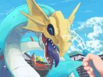 :d ^_^ blue_sky closed_eyes clouds colored_tongue commentary_request day digimon digimon_(creature) dragon happy holding holding_hose hose house kira_(kira_dra) open_mouth out_of_frame pov seadramon sharp_teeth sky smile solo_focus sparkle teeth tongue tongue_out twitter_username upper_body water