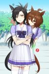 ! 2girls agnes_tachyon_(umamusume) ahoge air_shakur_(umamusume) animal_ears asymmetrical_bangs bangs black_hair blue_shirt blue_sky blurry blurry_background bow bowtie brown_hair clear_sky commentary_request crossed_arms day ear_ornament ear_protection frilled_skirt frills frown grimace grin horse_ears horse_girl horse_tail long_hair looking_at_another looking_at_viewer medium_hair miniskirt multiple_girls outdoors pleated_skirt puffy_short_sleeves puffy_sleeves purple_neckwear red_eyes sailor_collar school_uniform shirt short_sleeves skirt sky smile squiggle standing sweatdrop tail tan_(inka) tracen_school_uniform tree umamusume white_sailor_collar white_skirt yellow_eyes