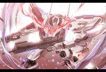 armored_core dual_wielding glowing glowing_eyes gun highres holding holding_gun holding_weapon mecha nekominase no_humans red_eyes weapon white_glint