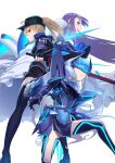 3girls ahoge armor armored_boots armored_dress artoria_pendragon_(all) bangs baseball_cap black_headwear blonde_hair blue_armor blue_dress blue_eyes blue_jacket blue_legwear blue_ribbon blue_scarf blush boots breastplate breasts cropped_jacket dress excalibur_morgan_(fate) fairy_knight_lancelot_(fate) fate/extra fate/extra_ccc fate/grand_order fate_(series) faulds green_eyes hair_between_eyes hair_ribbon hat highres jacket long_hair long_sleeves looking_at_viewer mask meltryllis_(fate) multiple_girls mysterious_heroine_x_(fate) open_mouth pauldrons ponytail prosthesis prosthetic_leg purple_hair reverse_grip ribbon rojiura_satsuki:_chapter_heroine_sanctuary scarf short_dress short_shorts shorts shoulder_armor sidelocks sleeves_past_fingers sleeves_past_wrists small_breasts smile soupchan sword thigh-highs thighs very_long_hair weapon white_background white_hair