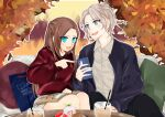 1boy 1girl 3so4ru5959 alternate_hairstyle asymmetrical_legwear autumn_leaves bad_id bad_twitter_id black_pants blue_eyes blue_jacket braid brother_and_sister brown_hair cellphone collared_shirt commentary_request contemporary couch crown_braid cup dessert drinking_glass drinking_straw food grey_shirt grey_skirt highres holding holding_magazine holding_phone jacket katarina_claes keith_claes light_brown_hair long_hair looking_at_another magazine miniskirt on_couch open_clothes open_jacket open_mouth otome_game_no_hametsu_flag_shika_nai_akuyaku_reijou_ni_tensei_shite_shimatta outline pants phone pillow pointing red_sweater shirt short_hair siblings sitting skirt smartphone smile step-siblings sweater white_outline