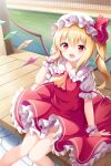 1girl bangs blonde_hair blush collar crystal dress eyebrows_visible_through_hair eyes_visible_through_hair flandre_scarlet hair_between_eyes hand_up hat hat_ribbon highres jewelry light lolita_fashion looking_at_viewer mob_cap multicolored multicolored_wings one_side_up open_mouth puffy_short_sleeves puffy_sleeves red_dress red_eyes red_ribbon ribbon road shadow short_hair short_sleeves sitting smile solo sunlight touhou water white_headwear wings wrist_cuffs yasuharasora yellow_neckwear