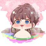 1girl :3 blush brown_hair chibi completely_nude drooling ichinose_shiki idolmaster idolmaster_cinderella_girls nude onsen solo tagme takato_kurosuke wide-eyed