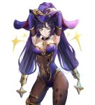 1girl ;) absurdres armpits arms_up ass_visible_through_thighs bangs black_choker breasts choker commentary covered_navel cowboy_shot elbow_gloves genshin_impact gloves green_eyes hat highres leotard long_hair looking_at_viewer medium_breasts mona_(genshin_impact) one_eye_closed purple_hair purple_headwear purple_leotard simple_background smile solo standing strapless strapless_leotard thighs twintails uth_95 very_long_hair white_background witch_hat