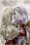 2girls acolyte_(ragnarok_online) bangs blonde_hair brown_cape brown_shirt cape capelet commentary_request dress fur-trimmed_cape fur_trim hand_on_another's_face light_purple_hair long_hair looking_at_another lowres mr.romance multiple_girls open_mouth purple_dress ragnarok_online rain shirt upper_body wet wet_clothes white_capelet wizard_(ragnarok_online)
