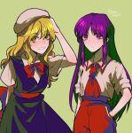2girls aihara-rina alternate_costume black_dress blonde_hair bow bowtie dress hakurei_reimu hakurei_reimu_(pc-98) hand_in_pocket hand_on_headwear hat highres kirisame_marisa kirisame_marisa_(pc-98) long_hair lotus_land_story mob_cap multiple_girls necktie no_hat no_headwear pants pocket purple_hair red_neckwear red_pants sash shirt short_sleeves sidelocks sleeves_rolled_up touhou touhou_(pc-98) white_headwear white_shirt