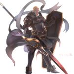 1boy alternate_costume armor armored_boots benny_(fire_emblem) black_armor black_footwear blonde_hair boots breastplate cheekbones closed_mouth commentary_request dark-skinned_male dark_skin fire_emblem fire_emblem_fates full_body gauntlets gold_trim holding holding_polearm holding_shield holding_spear holding_weapon looking_at_viewer male_focus no_eyebrows nonbiri_monban pelvic_curtain polearm scar scar_on_face scratches shield short_hair shoulder_armor simple_background solo spear standing translation_request very_short_hair waist_cape weapon white_background