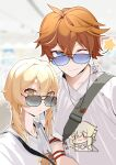 1boy 1girl ;) absurdres alternate_costume bag bangs bespectacled blue_eyes blurry brown_hair casual collarbone commentary_request contemporary depth_of_field eyebrows_visible_through_hair fu_lan_xi_er genshin_impact glasses hair_between_eyes height_difference highres jewelry light_brown_eyes light_brown_hair looking_at_viewer lumine_(genshin_impact) necklace one_eye_closed price_tag shirt short_hair short_hair_with_long_locks short_sleeves shoulder_bag sidelocks smile t-shirt tartaglia_(genshin_impact) translation_request white_shirt wristband