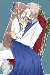 1boy 1girl 3so4ru5959 arm_around_waist blazer blue_bow blue_eyes blue_neckwear blue_skirt blue_vest blush bow brother_and_sister brown_hair closed_mouth commentary_request dress_shirt frown hair_bow hand_on_another's_chin highres jacket katarina_claes keith_claes light_brown_hair light_smile long_hair long_skirt necktie on_chair otome_game_no_hametsu_flag_shika_nai_akuyaku_reijou_ni_tensei_shite_shimatta outline pants parted_lips pleated_skirt purple_shirt shirt siblings sitting sitting_on_lap sitting_on_person skirt step-siblings vest white_jacket white_outline white_pants white_shirt wing_collar wooden_chair