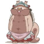 1other :3 :d buck_teeth clothed_pokemon commentary cosplay ears_through_headwear fusion gen_8_pokemon greedent hat made_in_abyss nanachi_(made_in_abyss) nanachi_(made_in_abyss)_(cosplay) open_mouth pokemon pokemon_(creature) shaved_body simple_background smile solo symbol-only_commentary takato_kurosuke white_background