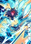 absurdres blue_eyes character_name claws commentary electricity energy fangs furry gen_7_pokemon highres looking_at_viewer mythical_pokemon open_mouth pokemon tia_(iris-sempi) tongue yellow_fur zeraora