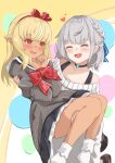 2girls absurdres bare_shoulders blonde_hair blush bound bound_wrists bow braid carrying choker closed_eyes collarbone commentary_request dark-skinned_female dark_skin dress english_text eyebrows_visible_through_hair facing_another french_braid hair_bow happy_birthday heart highres hololive kusana_(dudqja602) long_hair long_sleeves looking_at_another medium_hair multiple_girls orange_eyes pointy_ears princess_carry red_bow ribbed_dress shiranui_flare shirogane_noel silver_hair virtual_youtuber yuri