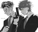 2boys alternate_costume bangs cigarette collared_shirt commentary_request danganronpa_(series) danganronpa_2:_goodbye_despair formal from_side gun hand_up highres hinata_hajime holding holding_weapon jacket jewelry long_sleeves male_focus monochrome mouth_hold multicolored_hair multiple_boys necktie parted_lips ring shirt shiyan_(flames_ten) short_hair simple_background spot_color suit tanaka_gandamu teeth twitter_username upper_body weapon white_background