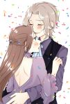 1boy 1girl 3so4ru5959 backless_dress backless_outfit black_vest blue_eyes blush brother_and_sister brown_hair choker closed_eyes commentary_request confetti dress dress_shirt frilled_choker frills frown hair_ornament hetero highres hug katarina_claes keith_claes light_brown_hair long_hair long_sleeves necktie open_mouth otome_game_no_hametsu_flag_shika_nai_akuyaku_reijou_ni_tensei_shite_shimatta purple_choker purple_dress purple_shirt shirt short_hair siblings smile step-siblings tears vest white_background white_neckwear wing_collar