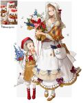 2girls absurdres apron blue_flower boots bouquet bow brown_apron brown_eyes brown_footwear bug butterfly dress eating flower food glasses grey_hair hat height_difference highres holding holding_bouquet holding_flower insect looking_at_viewer multiple_girls original parfait personification plant red_flower red_footwear red_headwear red_rose red_tulip rinotuna rose shadow shoes siblings silver_hair sisters smile standing striped striped_bow tulip watering_can white_apron white_butterfly white_dress white_flower white_headwear white_rose