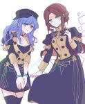 2girls alternate_costume alternate_hairstyle bangs black_headwear black_legwear black_skirt blue_hair blunt_bangs braid breasts brown_eyes brown_hair buttons cabbie_hat closed_mouth commentary_request cosplay costume_switch crown_braid dorothea_arnault dorothea_arnault_(cosplay) epaulettes fire_emblem fire_emblem:_three_houses forehead garreg_mach_monastery_uniform green_eyes hand_on_own_chest hands_together hat juliet_sleeves kitano_373 long_skirt long_sleeves looking_at_viewer marianne_von_edmund marianne_von_edmund_(cosplay) medium_breasts miniskirt multiple_girls parted_lips puffy_sleeves sidelocks skirt smile thigh-highs uniform white_background