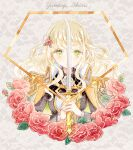 1girl aiguillette bangs black_jacket blonde_hair character_name covered_mouth cropped_torso emerald_(gemstone) epaulettes eyebrows_visible_through_hair floral_background flower glint green_eyes grey_background hair_flower hair_ornament hands_up haruhana_aya high_collar holding holding_sword holding_weapon jacket jacket_on_shoulders lace_background light_particles long_hair long_sleeves looking_at_viewer medal own_hands_together red_flower red_rose rose shiny shiny_hair shoujo_kageki_revue_starlight shoujo_kageki_revue_starlight_-re_live- sidelocks solo sword two-handed uniform upper_body wavy_hair weapon white_jacket yumeoji_shiori