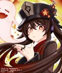 1girl absurdres bangs black_nails brown_hair chinese_clothes commentary eyebrows_visible_through_hair flower genshin_impact ghost hair_between_eyes hat hat_flower hat_ornament highres hu_tao_(genshin_impact) jewelry long_hair long_sleeves looking_at_viewer mixed-language_commentary orange_eyes parted_lips pegasus_arts ring sidelocks simple_background symbol-shaped_pupils twintails