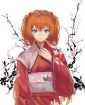 1girl absurdres bangs blue_eyes branch cherry_blossoms closed_mouth commentary expressionless floral_print flower hair_between_eyes hand_up highres huge_filesize interface_headset japanese_clothes jenmin12 kimono long_hair looking_at_viewer neon_genesis_evangelion obi orange_hair pink_flower print_kimono red_kimono sash simple_background solo souryuu_asuka_langley upper_body white_background