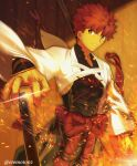 1boy absurdres covered_abs embers emiya_shirou fate/grand_order fate_(series) feet_out_of_frame fire highres holding holding_sword holding_weapon huge_filesize male_focus moto_(otemoto02) orange_hair pectorals senji_muramasa_(fate) short_hair solo sparkle sword toned toned_male weapon yellow_eyes