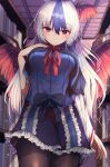 1girl alternate_hair_length alternate_hairstyle bangs black_capelet black_legwear blue_dress blurry blurry_background blush bookshelf breasts capelet commentary_request cowboy_shot darumoon depth_of_field dress eyebrows_visible_through_hair feathered_wings frills from_below hair_between_eyes hand_on_own_chest head_wings highres indoors large_breasts light_particles long_hair looking_at_viewer multicolored_hair pantyhose petticoat red_eyes red_neckwear red_ribbon ribbon smile solo streaked_hair tokiko_(touhou) touhou very_long_hair wings