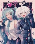 1girl :d ;d ahoge android aqua_hair bangs bare_shoulders black_skirt blush cheer_(cheerkitty14) closed_eyes commentary dangan_ronpa_(series) dangan_ronpa_v3:_killing_harmony detached_sleeves english_commentary grey_background grey_hair hand_on_own_chest hand_up hatsune_miku heart heart_in_eye highres holding holding_microphone keebo long_hair long_sleeves looking_at_another microphone multicolored multicolored_background music neck_ribbon number one_eye_closed open_mouth power_armor ribbon shiny shiny_hair shirt singing skirt smile star_(symbol) symbol_in_eye trait_connection twintails upper_teeth very_long_hair vocaloid white_shirt
