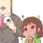 1boy 1girl baguette bread brown_hair brown_jacket character_request eating fang fang_out food food_on_face hair_ornament hair_scrunchie holding holding_food idolmaster idolmaster_cinderella_girls jacket long_sleeves necktie onigiri open_mouth pink_eyes pink_neckwear producer_(idolmaster) scrunchie side_ponytail simple_background takato_kurosuke white_background wide-eyed