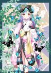 1girl :o animal bare_shoulders black_bow black_footwear blue_hair blush border bow bug butterfly feet_out_of_frame full_body hair_bow hair_bun hand_up hololive insect japanese_clothes kimono long_sleeves looking_at_viewer lunacats multicolored_hair off_shoulder outside_border parted_lips pink_hair side_bun sleeves_past_wrists socks solo standing tabi two-tone_hair uruha_rushia virtual_youtuber white_kimono white_legwear wide_sleeves zouri