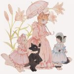 animal black_cat blue_dress blue_eyes blue_headwear bonnet bow cat clothed_animal dress flower frilled_dress frilled_shirt_collar frills full_body highres holding holding_umbrella kitten lily_(flower) long_sleeves no_humans original paws pink_dress pink_headwear pink_umbrella reaching shirt simple_background standing tabby_cat tono_(rt0no) umbrella white_cat