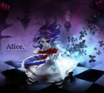 1girl alice:_madness_returns alice_(alice_in_wonderland) american_mcgee's_alice apron black_hair blood bloody_tears boots breasts bug butterfly closed_mouth dress insect jewelry jupiter_symbol knife long_hair necklace pantyhose sdaki solo striped striped_legwear weapon