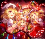 4girls 60mai bangs black_background blonde_hair blush bow closed_mouth collar crying crystal danmaku dress eyebrows_visible_through_hair flandre_scarlet flying four_of_a_kind_(touhou) frills hair_between_eyes hand_up hands_up hat hat_ribbon holding jewelry light looking_at_another looking_at_viewer mob_cap multicolored multicolored_wings multiple_girls one_eye_closed one_side_up open_mouth polearm puffy_short_sleeves puffy_sleeves red_background red_dress red_eyes red_ribbon red_skirt red_vest ribbon shadow shirt short_hair short_sleeves skirt smile spear spell_card standing surprised tears touhou vest weapon white_bow white_collar white_headwear white_shirt white_sleeves wings yellow_neckwear