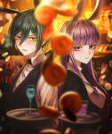 1boy 1girl animal_ears bangs black_bow black_hair black_jacket black_vest blurry blurry_background blurry_foreground blush bow closed_mouth commentary_request cup danganronpa:_trigger_happy_havoc danganronpa_(series) danganronpa_v3:_killing_harmony depth_of_field dress_shirt drinking_glass fake_animal_ears from_side hair_between_eyes highres holding holding_tray jacket kirigiri_kyouko long_hair looking_at_viewer parted_lips porary purple_hair rabbit_ears saihara_shuuichi shirt short_hair tray upper_body vest violet_eyes white_shirt yellow_eyes