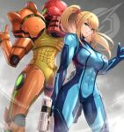 >:) 1girl abs absurdres ass_visible_through_thighs blonde_hair blue_bodysuit bodysuit breasts closed_mouth commentary_request covered_navel feet_out_of_frame gonzarez green_eyes gun highres holding holding_gun holding_weapon impossible_bodysuit impossible_clothes large_breasts long_hair metroid ponytail power_suit samus_aran sidelocks skin_tight smile solo standing thumbs_up v-shaped_eyebrows weapon zero_suit