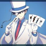1boy ;q ace ace_of_clubs ace_of_diamonds ace_of_hearts ace_of_spades akiyoshi_(tama-pete) bangs blue_background blue_eyes blue_shirt brown_hair cape card club_(shape) commentary diamond_(shape) dress_shirt formal gloves hair_between_eyes hands_up hat heart holding holding_card jacket joker_(card) kaitou_kid long_sleeves looking_at_viewer magic_kaito male_focus meitantei_conan monocle monocle_chain necktie one_eye_closed playing_card red_neckwear shirt short_hair smile solo spade_(shape) suit tongue tongue_out top_hat upper_body white_cape white_gloves white_headwear white_jacket white_suit