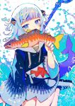 1girl animal artist_name bangs blue_background blue_eyes blue_footwear blue_hair blue_hoodie blue_nails blunt_bangs commentary drawstring english_commentary fish fish_tail gawr_gura hair_ornament hand_up heart highres hinasumire holding holding_animal holding_fish hololive hololive_english hood hood_down hoodie light_smile long_sleeves looking_at_viewer medium_hair mouth_hold multicolored_hair pocket polearm shark_hair_ornament shark_tail sharp_teeth shoes sneakers solo streaked_hair tail teeth trident tsurime two_side_up virtual_youtuber water weapon white_background white_footwear white_hair wide_sleeves