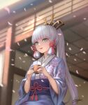 1girl :d aqua_eyes architecture bangs blunt_bangs blurry bow cherry_blossom_print commentary_request cup damon_ct depth_of_field east_asian_architecture eyebrows_visible_through_hair floral_print genshin_impact hair_bow hair_ornament hair_ribbon highres holding holding_cup japanese_clothes kamisato_ayaka kimono long_hair long_sleeves looking_away mole mole_under_eye obi open_mouth petals ribbon sash sidelocks signature silver_hair smile solo tress_ribbon wide_sleeves wind yunomi