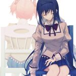 2girls akemi_homura arms_at_sides back back-to-back bags_under_eyes bangs black_hair black_hairband black_skirt breasts chair closed_eyes closed_mouth earrings eyebrows_visible_through_hair eyes_visible_through_hair facing_away facing_viewer hair_ribbon hairband hand_on_own_leg high_collar highres jewelry juliet_sleeves kaname_madoka legs_together light_smile long_hair long_sleeves mahou_shoujo_madoka_magica mahou_shoujo_madoka_magica_movie mitakihara_school_uniform multiple_girls muted_color neck_ribbon no_nonet on_chair pink_hair plaid plaid_skirt pleated_skirt puffy_sleeves red_ribbon ribbon school_uniform simple_background single_earring sitting skirt small_breasts solo_focus soul_gem twintails white_background