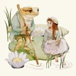 1girl animal apron bangs barefoot blue_dress bow bowtie brown_hair clothed_animal dress flower frog hands_together hat highres holding holding_stick jacket lily_pad long_hair long_sleeves looking_at_another lotus mob_cap original shirt sitting standing stick tono_(rt0no) walking_stick white_apron white_shirt