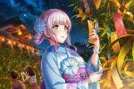 d4dj grey_eyes izumo_saki kimono long_hair silver_hair smile