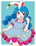 1girl :d animal_ears bangs bloomers blue_background blue_dress blue_hair border cowboy_shot crescent_print dress ear_clip eyebrows_visible_through_hair frilled_dress frills highres ini_(inunabe00) long_hair looking_at_viewer low_twintails open_mouth rabbit_ears red_eyes seiran_(touhou) short_sleeves simple_background smile solo standing star_(symbol) star_print touhou twintails underwear white_border