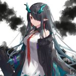 1girl aqua_hair arknights bare_shoulders bead_bracelet beads black_coat black_hair bracelet breasts closed_mouth coat colored_skin dragon_horns dress dusk_(arknights) earrings expressionless gradient_hair green_skin hair_over_one_eye highres holding holding_sheath horns ink jewelry ki_xyoro long_sleeves looking_at_viewer medium_breasts multicolored_hair necktie off_shoulder open_clothes open_coat pointy_ears red_eyes red_neckwear sheath sidelocks solo upper_body white_background white_dress