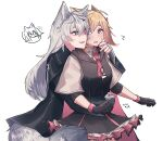 2girls ? ?? animal_ears arknights bangs black_dress black_gloves black_jacket black_nails blonde_hair commentary_request dated dress fang fingerless_gloves gloves grey_eyes grey_gloves hair_between_eyes highres hug hug_from_behind jacket kawaii_inu5 lappland_(arknights) layered_sleeves long_hair long_sleeves looking_at_another multiple_girls nail_polish necktie open_mouth petticoat pink_eyes pink_neckwear scar scar_across_eye short_over_long_sleeves short_sleeves silver_hair simple_background skin_fang sora_(arknights) spoken_character sweat tail texas_(arknights) white_background wolf_ears wolf_tail yuri