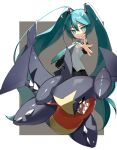 1girl absurdres bangs black_skirt collared_shirt crossover floating_hair garchomp gen_4_pokemon green_hair green_neckwear grey_shirt grin hair_between_eyes hair_ornament hatsune_miku highres long_hair looking_at_viewer necktie outstretched_arm pleated_skirt pokemon pokemon_(creature) reirou_(chokoonnpu) shiny shiny_hair shirt skirt sleeveless sleeveless_shirt smile spread_fingers symbol-only_commentary teeth twintails very_long_hair vocaloid