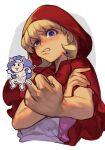 blonde_hair blue_eyes bulleta capelet censored felicia_(vampire) hankuri hood hooded_capelet hankuri meme middle_finger red_hood scowl upper_body vampire_(game)