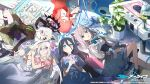 5girls animal_ears arisu_(blue_archive) aru_(blue_archive) azusa_(blue_archive) blue_archive blue_eyes casual closed_eyes commentary_request flower hands_together hina_(blue_archive) kukka looking_at_viewer multiple_girls one_eye_closed plant pot shiroko_(blue_archive) smile wings